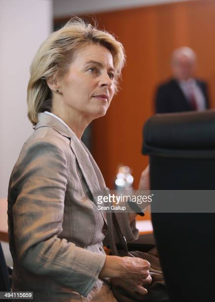 German Defense Minister Ursula von der Leyen arrives at the weekly German government cabinet meeting on May 28 2014 in Berlin Germany High on the...