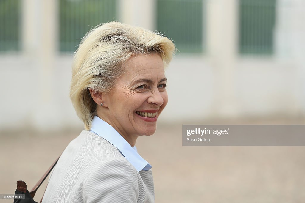 German Defense Minister Ursula von der Leyen arrives for a meeting of the government cabinet at Schloss Meseberg palace on May 24, 2016 near Gransee, Germany. The government cabinet is meeting at Schloss Meseberg for a two-day retreat.
