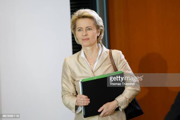 German Defense Minister Ursula von der Leyen arrives for the weekly cabinet meeting at the chancellery on October 18 2017 in Berlin Germany