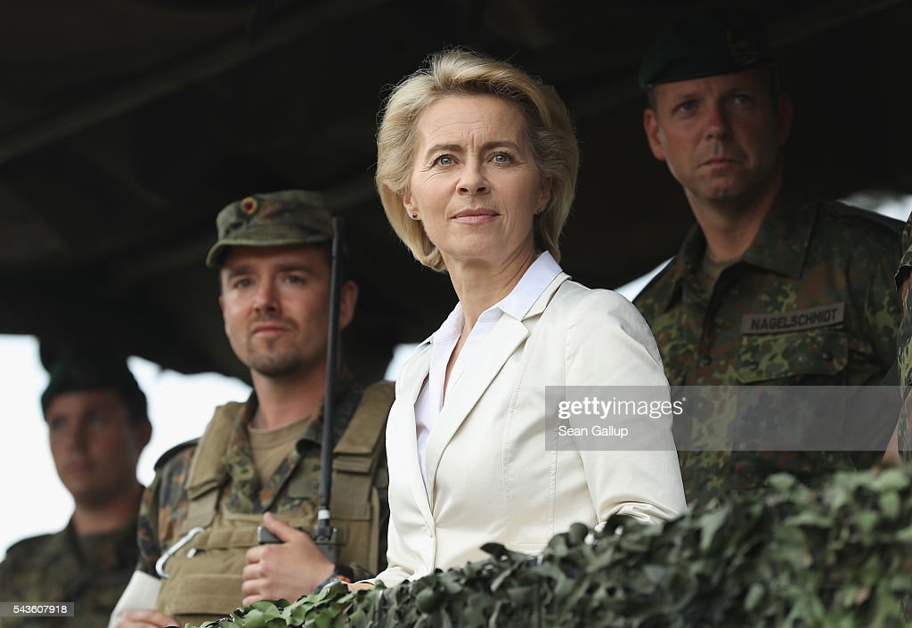 German Defense Minister <a gi-track='captionPersonalityLinkClicked' href=/galleries/search?phrase=Ursula+von+der+Leyen&family=editorial&specificpeople=4249207 ng-click='$event.stopPropagation()'>Ursula von der Leyen</a> attends a demonstration of capabilities by the Bundeswehr, the German armed forces, of Panzergranadierbataillon 33 of the 1st Panzer Division (1. Panzerdivision) that included the new Puma infantry fighting vehicle on June 29, 2016 near Neustadt am Ruebenberge, Germany. The Bundeswehr is aquirung the Puma in phases and the vehicle replaces the Marder.