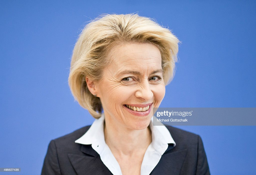 German Defense Minister <a gi-track='captionPersonalityLinkClicked' href=/galleries/search?phrase=Ursula+von+der+Leyen&family=editorial&specificpeople=4249207 ng-click='$event.stopPropagation()'>Ursula von der Leyen</a> attends a press conference dealing with the attractiveness of the german army Bundeswehr as an employer on June 04, 2014 in Berlin, Germany.