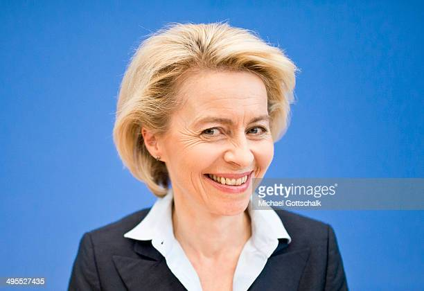 German Defense Minister Ursula von der Leyen attends a press conference dealing with the attractiveness of the german army Bundeswehr as an employer...