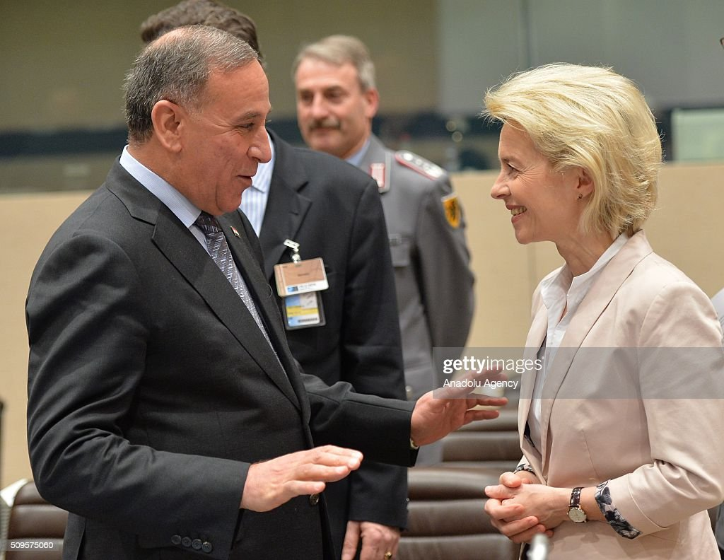 German Defense Minister Ursula von der Leyen (R) attends the anti-Daesh coalition conference at NATO headquarters in Brussels, Belgium on February 11, 2016. The counter-Deash defense ministers conference, in Brussels, comprises 27 nations, including the United States, that provide force contributions to the counter-Daesh campaign.