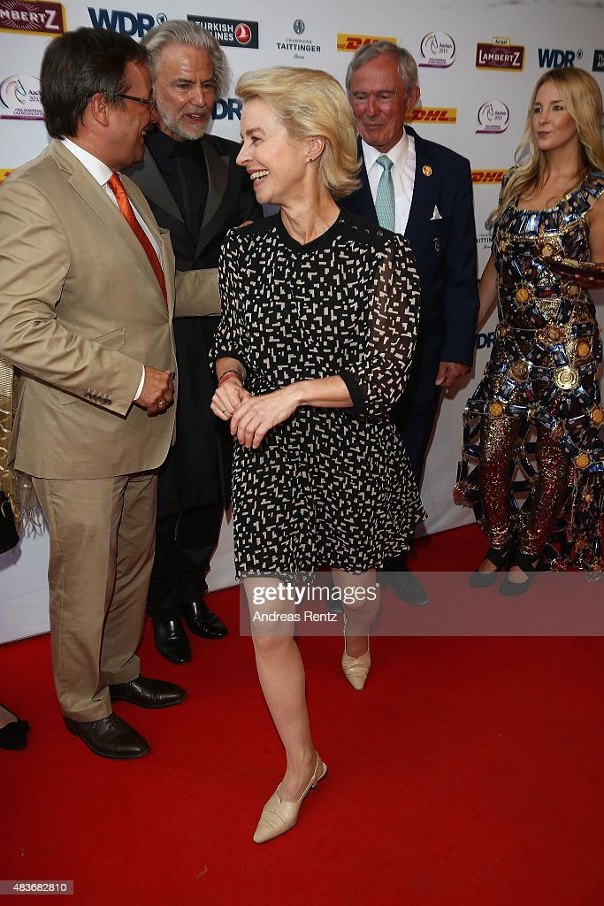 German Defense Minister <a gi-track='captionPersonalityLinkClicked' href=/galleries/search?phrase=Ursula+von+der+Leyen&family=editorial&specificpeople=4249207 ng-click='$event.stopPropagation()'>Ursula von der Leyen</a> attends the FEI European Championship 2015 media night on August 11, 2015 in Aachen, Germany.