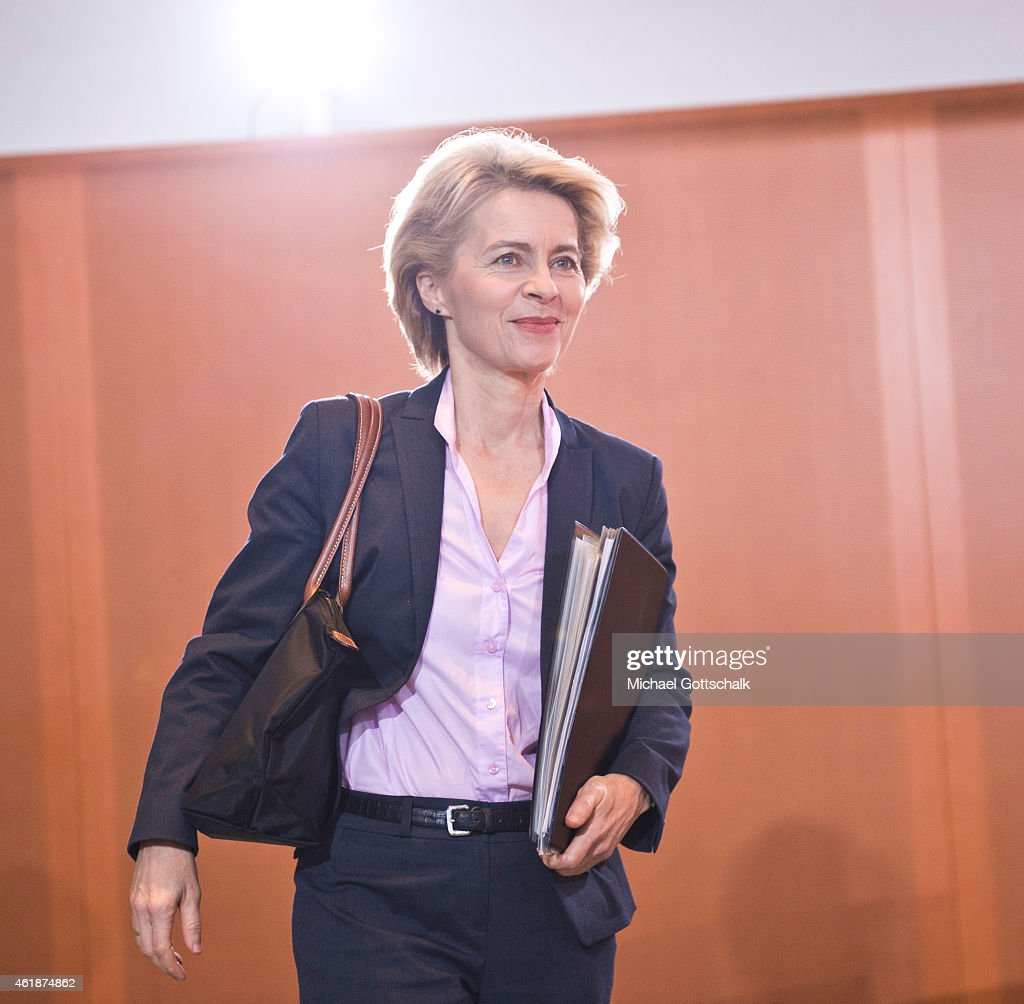German Defense Minister <a gi-track='captionPersonalityLinkClicked' href=/galleries/search?phrase=Ursula+von+der+Leyen&family=editorial&specificpeople=4249207 ng-click='$event.stopPropagation()'>Ursula von der Leyen</a> attends the weekly cabinet meeting in the Chancellery on January 21, 2015 in Berlin, Germany.