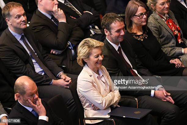 German Defense Minister Ursula von der Leyen during the reception for the 70th anniversary of 'DER SPIEGEL' at the town hall on January 6 2017 in...