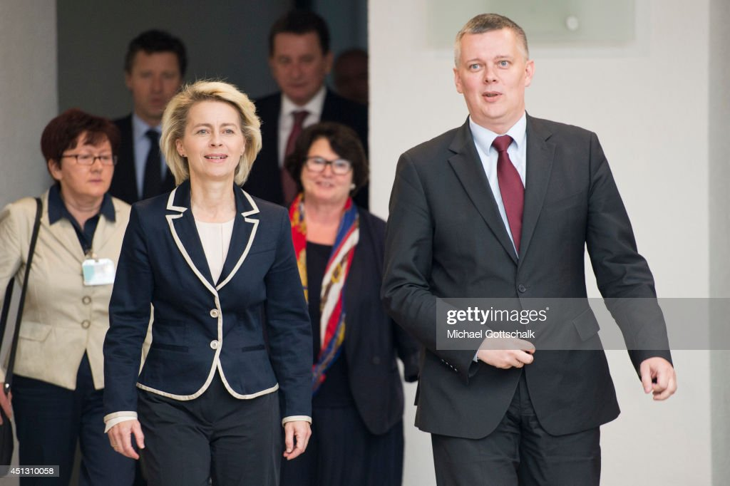 German Defense Minister <a gi-track='captionPersonalityLinkClicked' href=/galleries/search?phrase=Ursula+von+der+Leyen&family=editorial&specificpeople=4249207 ng-click='$event.stopPropagation()'>Ursula von der Leyen</a> meets with Polands Defense Minister <a gi-track='captionPersonalityLinkClicked' href=/galleries/search?phrase=Tomasz+Siemoniak&family=editorial&specificpeople=8840145 ng-click='$event.stopPropagation()'>Tomasz Siemoniak</a> on June 27, 2014 in Berlin, Germany.