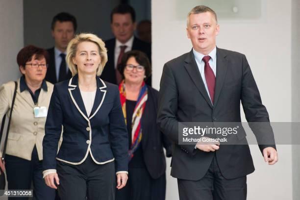 German Defense Minister Ursula von der Leyen meets with Polands Defense Minister Tomasz Siemoniak on June 27 2014 in Berlin Germany