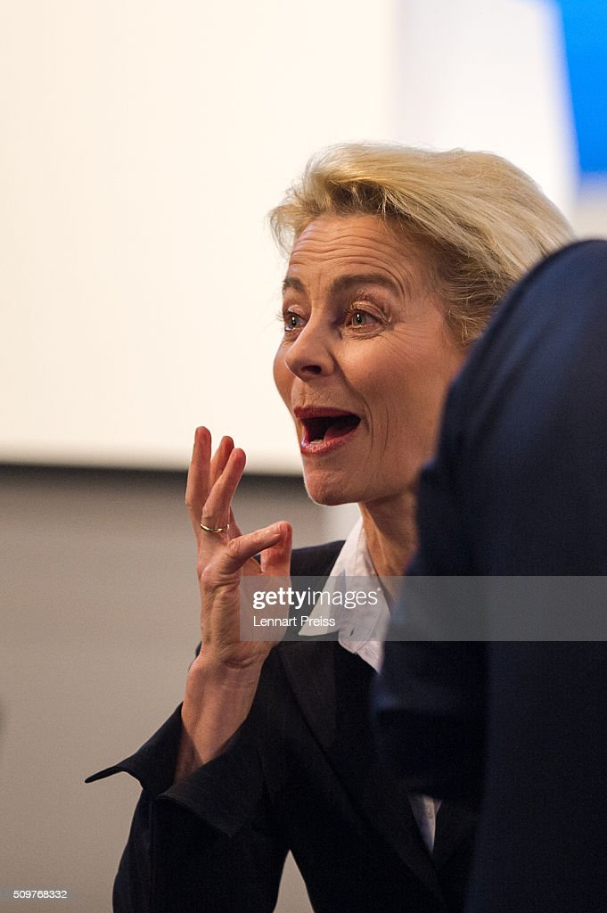 German Defense Minister Ursula von der Leyen reacts at the 2016 Munich Security Conference at the Bayerischer Hof hotel on February 12, 2016 in Munich, Germany. The annual event brings together government representatives and security experts from across the globe and this year the conflict in Syria will be the main issue under discussion.