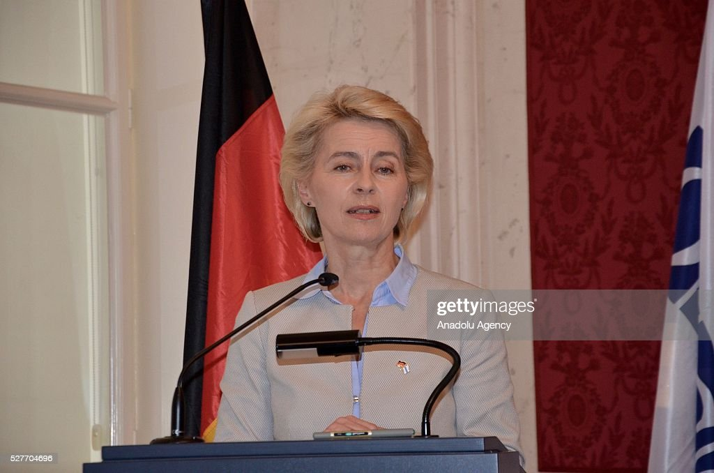 German Defense Minister Ursula von der Leyen speaks during a joint press conference with the Organization for Security and Co-operation in Europe (OSCE) Secretary General Lamberto Zannier after their talks in Vienna, Austria on May 03, 2016.