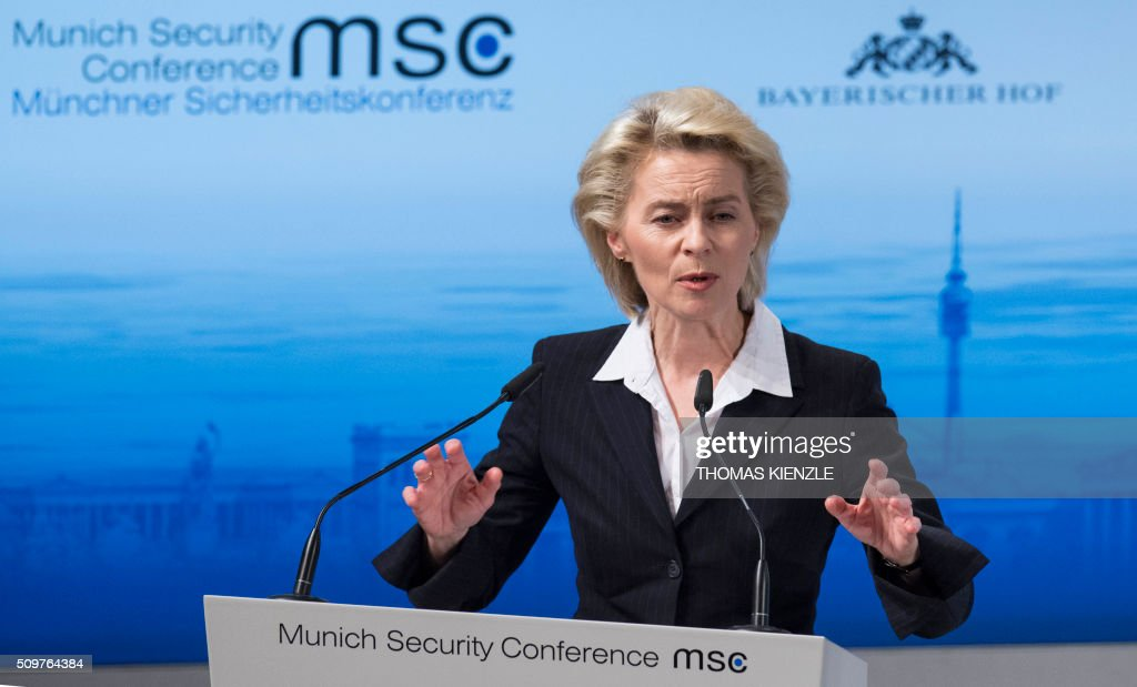German Defense Minister Ursula von der Leyen speeks during a panel discussion at the 52nd Munich Security Conference (MSC) in Munich, southern Germany, on February 12, 2016. / AFP / THOMAS KIENZLE