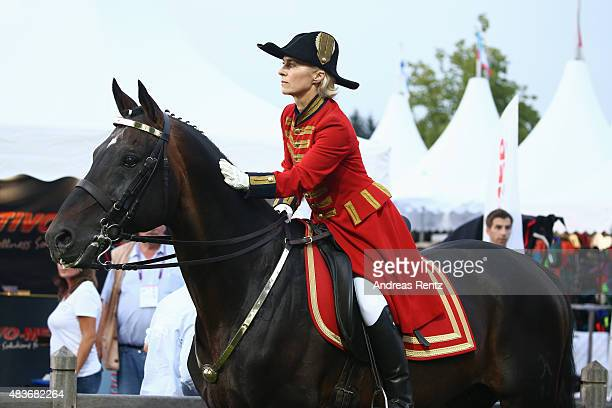 German Defense Minister Ursula von der Leyen takes part in the opening ceremony of the FEI European Championship 2015 on August 11 2015 in Aachen...