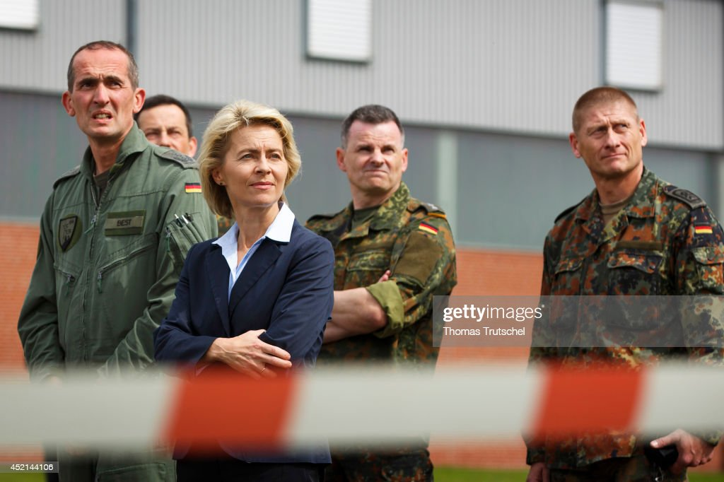 German Defense Minister <a gi-track='captionPersonalityLinkClicked' href=/galleries/search?phrase=Ursula+von+der+Leyen&family=editorial&specificpeople=4249207 ng-click='$event.stopPropagation()'>Ursula von der Leyen</a> visits the helicopter squadron 64 of German Bundeswehr on July 14, 2014 in Calw, Germany. The KSK, which stands for Kommando Spezialkraefte, is the special forces unit of the Bundeswehr, comprising 1,200 troops, and has served in Afghanistan. Von der Leyen is visiting the KSK as part of her annual summer tour of German military bases.