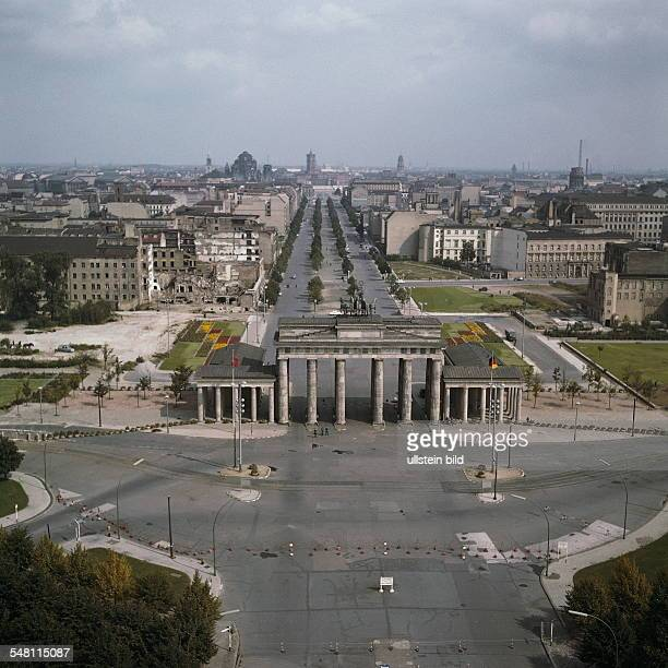 German Democratic Republic Bezirk Berlin East Berlin 'Brandenburg gate' with East Berlin Aerial view