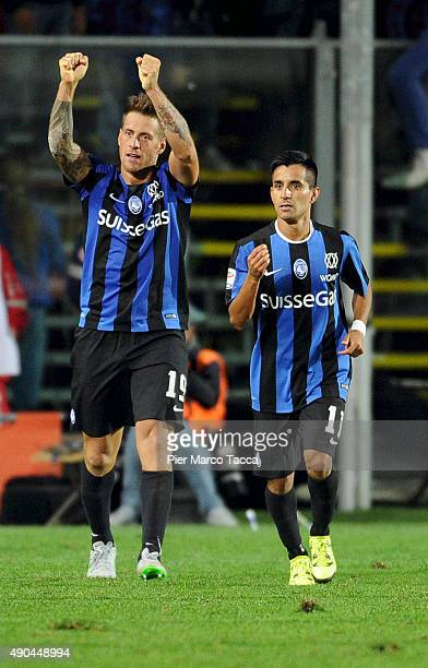 German Deni of Atalanta BC celebrates the goal during the Serie A match between Atalanta BC and UC Sampdoria at Stadio Atleti Azzurri d'Italia on...