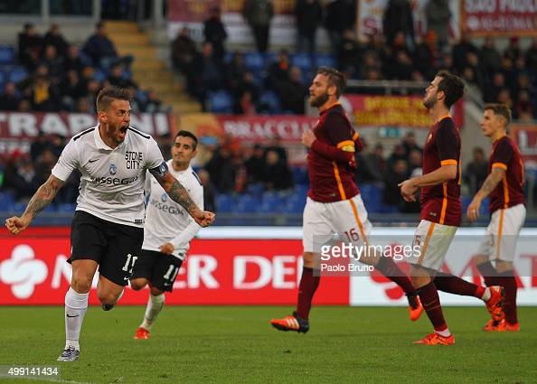 German Denis of Atalanta BC celebrates after scoring the team's second goal from penalty spot during the Serie A match between AS Roma and Atalanta...