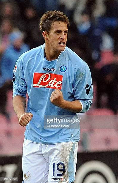German Denis of Napoli celebrates after scoring the 10 goal during the Serie A match between SSC Napoli and UC Sampdoria at Stadio San Paolo on...
