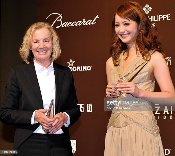 German designer Jil Sander and Japanese model Nozomi Sasaki pose for the press during the 53rd awards ceremony of the Fashion Editors' Club of Japan...