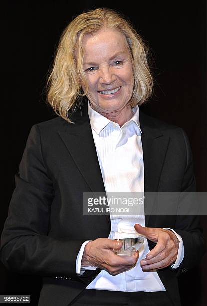 German designer Jil Sander is awarded the Designer of the Year during the 53rd awards ceremony of the Fashion Editors' Club of Japan at a hotel in...