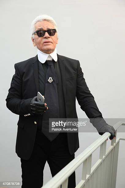 German designer Karl Lagerfeld attends the opening of the 30th International Festival Of Fashion and Photography on April 23 2015 in Hyeres...