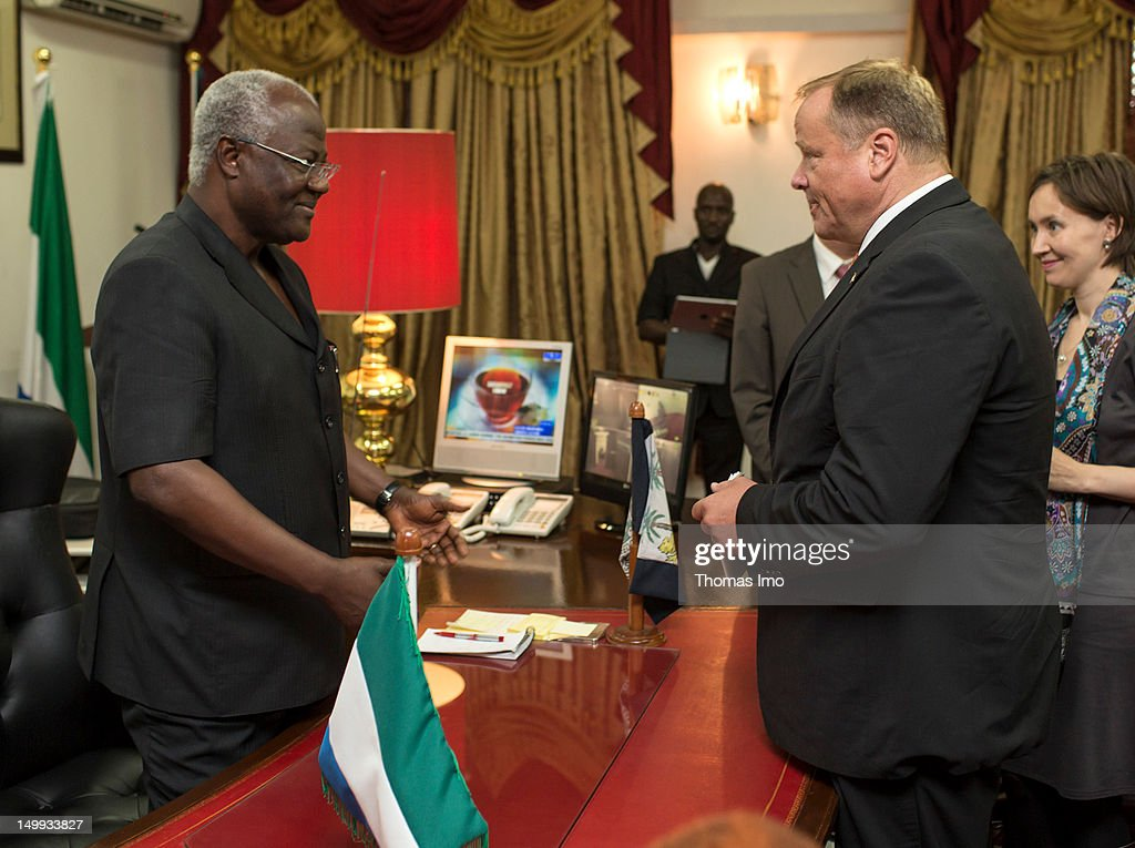 German Development Minister Dirk Niebel and President of Sierra Leone <a gi-track='captionPersonalityLinkClicked' href=/galleries/search?phrase=Ernest+Bai+Koroma&family=editorial&specificpeople=4447998 ng-click='$event.stopPropagation()'>Ernest Bai Koroma</a> meet on August 7, 2012 in Freetown, Sierra Leone. Topic of the meeting will be the presidential elections scheduled for November in Sierra Leone.