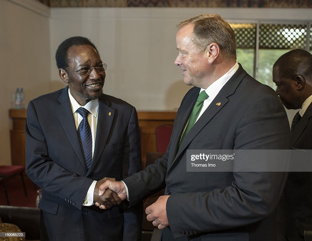 German Development Minister Dirk Niebel (R) and President of the Transitional Government <a gi-track='captionPersonalityLinkClicked' href=/galleries/search?phrase=Dioncounda+Traore&family=editorial&specificpeople=9117926 ng-click='$event.stopPropagation()'>Dioncounda Traore</a> shake hands as they meet on August 9, 2012 in Bamako, Mali. Niebel will talk to members of the Transitional Government in Mali to solve the current crisis.