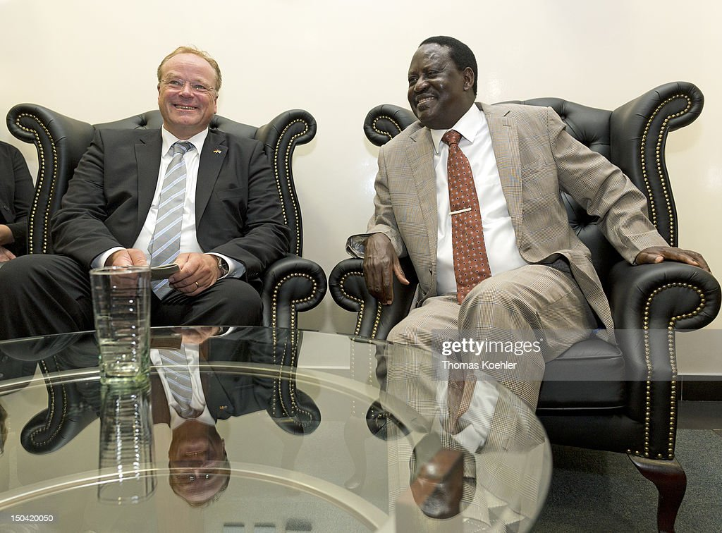 German Development Minister Dirk Niebel (L) and <a gi-track='captionPersonalityLinkClicked' href=/galleries/search?phrase=Raila+Odinga&family=editorial&specificpeople=2147626 ng-click='$event.stopPropagation()'>Raila Odinga</a>, Prime Minister of Kenya, meet on August 16, 2012, in Kisumu, Kenya. Meeeting topics will include the Kenyan presidential election in 2013 and a development cooperation between Germany, Israel and Kenya.