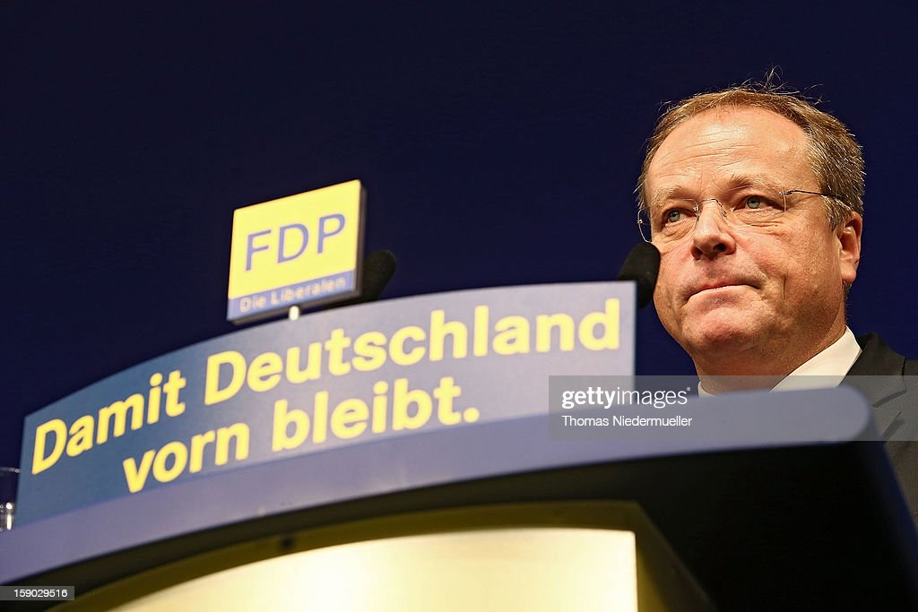 German Development Minister Dirk Niebel attends the annual Epiphany conference at the state opera house on January 6, 2013 in Stuttgart, Germany. The FDP is the junior partner in the current German coalition government and current polls show the party struggling to stay above the critical 5% mark needed if it is to retain seats in the Bundestag in national elections scheduled for later this year.