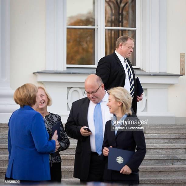 German Development Minister Dirk Niebel leaves the Bellevue German Chancellor Angela Merkel German Education Minister Johanna Wanka...