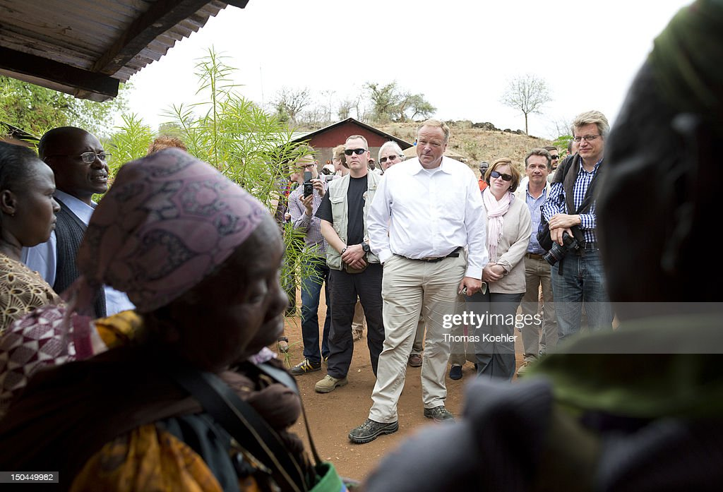 German Development Minister Dirk Niebel visits a small farm on August 18, 2012, Ishiara in Kenya. The people who live at the farm are supported by the German church development organization Misereror. Niebel was in Kenya on an official visit to discuss trilateral projects with Israel and Kenya.