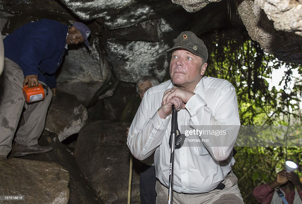 German Development Minister Dirk Niebel visits Mount Cameroon National Park on October 31, 2012 in Buea, Cameroon.