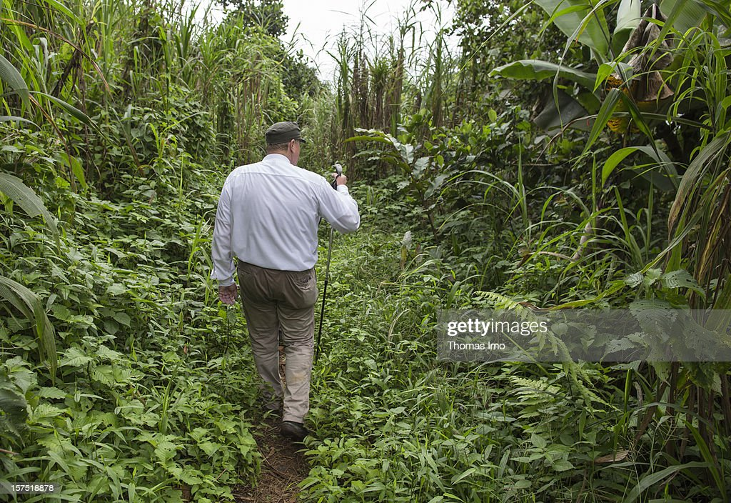 German Development Minister Dirk Niebel visits Mount Cameroon National Park on October 31, 2012 in Buea, Cameroon.