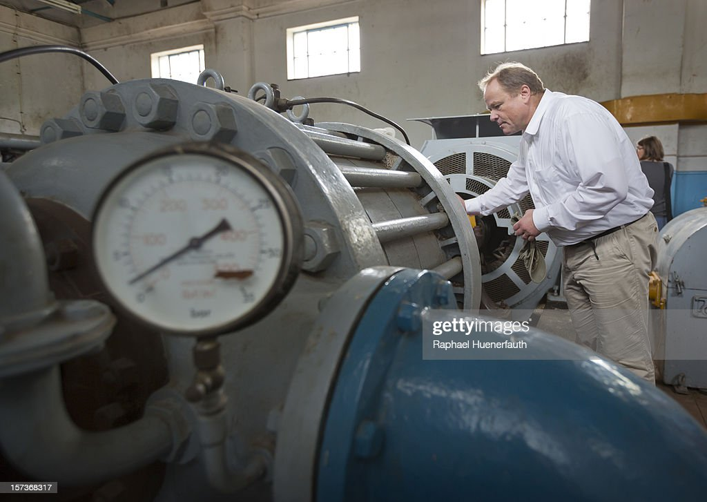 German Development Minister Dirk Niebel visits the Khami water plant on December 2, 2012 in Bulawayo, Zimbabwe. German Development Minister Niebel is the first member of the German government to visit Zimbabwe in 15 years. The visit, aimed at supporting democratic forces in the African country, comes ahead of their presidential elections in 2013.