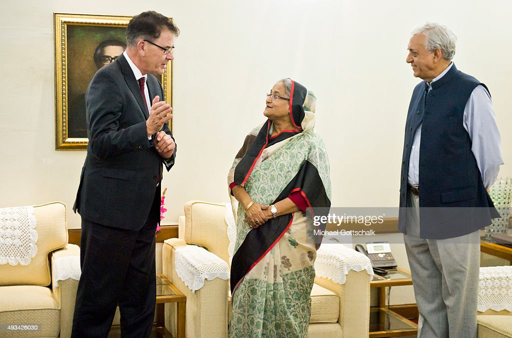 German Development Minister Gerd Mueller and Sheikh Hasina, Prime Minister of Bangladesh, meet in prime ministers residence on October 07, 2015 in Gazipur, Bangladesh.