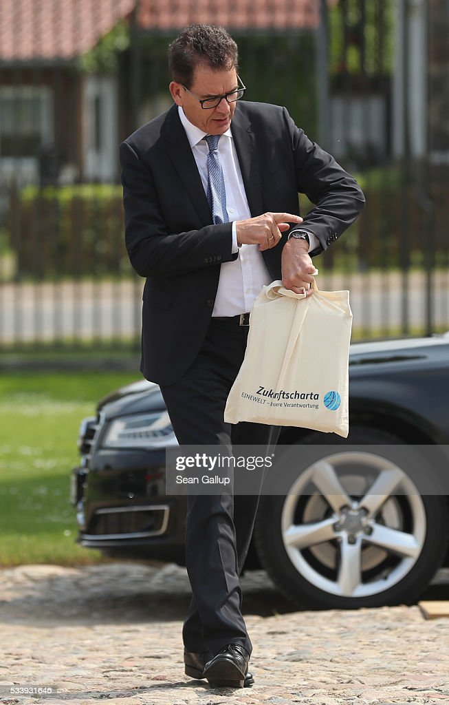 German Development Minister Gerd Mueller arrives for a meeting of the government cabinet at Schloss Meseberg palace on May 24, 2016 near Gransee, Germany. The government cabinet is meeting at Schloss Meseberg for a two-day retreat.