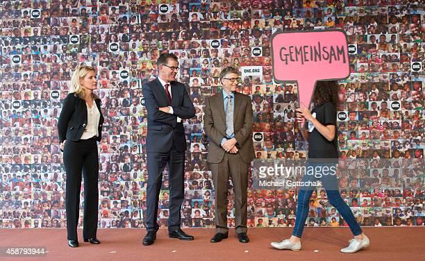 German Development Minister Gerd Mueller German Actress Maria Furtwaengler and Bill Gates Founder of Bill and Melinda Gates foundation attend a photo...