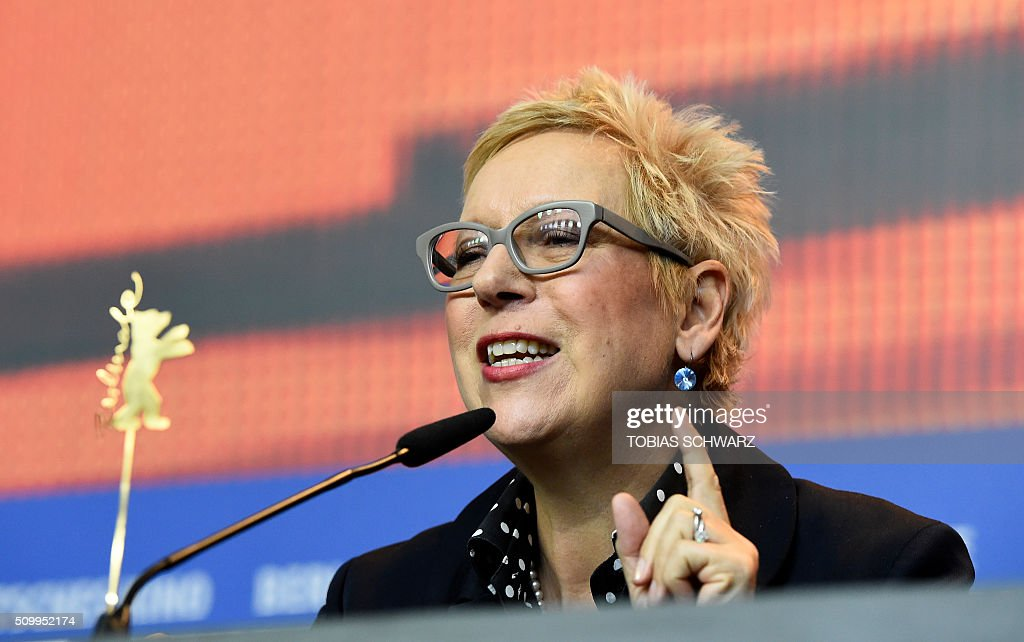 German Director Doris Doerrie attends a press conference for the film 'Gruesse aus Fukushima' (Fukushima, Mon Amour) screened in the Panorama section of the 66th Berlinale Film Festival in Berlin on February 13, 2016. / AFP / TOBIAS SCHWARZ