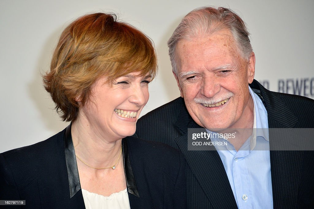 German Director of Photography Michael Ballhaus (R) and German film director Sherry Hormann pose for photographers as they arrive for the screening of '3096 days', a film based on Kampusch story, on February 27, 2013 at in Berlin. The film, based on the ordeal of Natascha Kampusch, is on set to open on February 28, 2013 in the German cinemas.