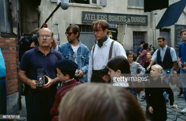 German director Volker Schlondorff and American actor John Malkovich on the set of Schlondorff's film Der Unhold The Ogre