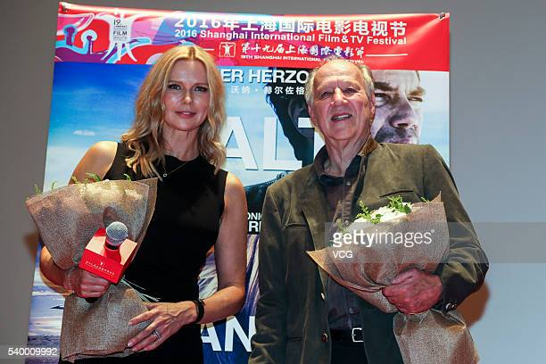 German director Werner Herzog and actress Veronica Ferres attend 'Salt and Fire' photocall during the 19th Shanghai International Film Festival on...