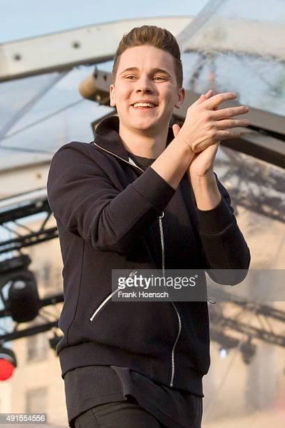 German DJ Felix Jaehn performs live at the Festival der Einheit on October 3 2015 in Berlin Germany