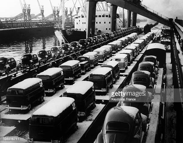 German doubledecker trains carrying VOLKSWAGEN cars from the port of Bremen to abroad in Germany February 18 1966