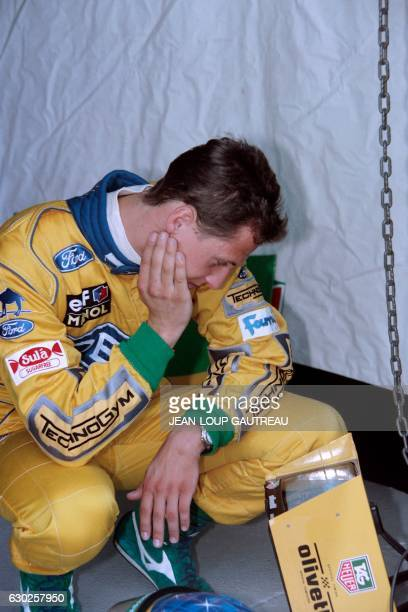 German driver Michael Schumacher looks at a computer during the second qualifying practice in Silverstone racetrack on July 10 1993 for the British...
