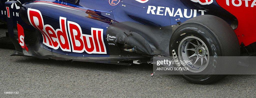 German driver Sebastian Vettel´s RedBull car is seen damaged during the Brazil F-1 GP at the Interlagos racetrack in Sao Paulo, Brazil on November 25, 2012.