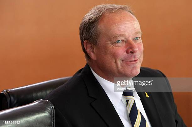 German Economic Cooperation and Development Minister Minister Dirk Niebel arrives for the weekly German federal government Cabinet meeting on April...