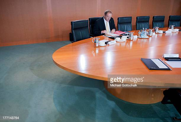 German Economic Cooperation and Development Minister Minister Dirk Niebel arrives for the weekly federal Cabinet meeting on August 21 2013 in Berlin...