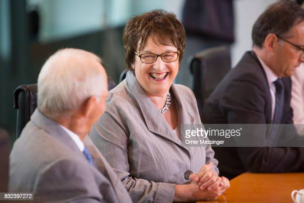German Economy and Energy Minister Brigitte Zypries attends the weekly cabinet meeting on August 16 2017 in Berlin Germany Today's is the first...