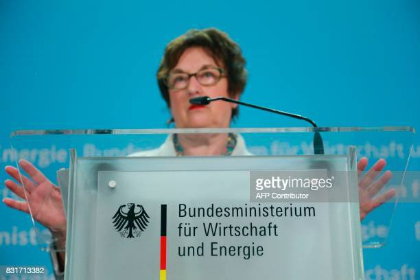 German Economy and Energy Minister Brigitte Zypries gestures during a press conference in Berlin on August 15 2017 Germany's struggling budget...