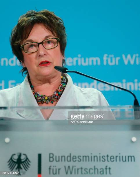 German Economy and Energy Minister Brigitte Zypries holds a press conference in Berlin on August 15 2017 Germany's struggling budget airline Air...