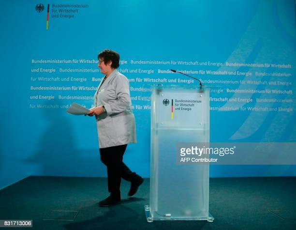 German Economy and Energy Minister Brigitte Zypries leaves after a press conference in Berlin on August 15 2017 Germany's struggling budget airline...